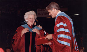 Barbara Bush receives honorary Doctor of Public Service degree, 1991.